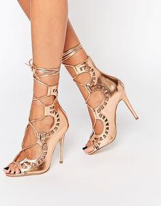 Oh my goodness - I OWN THESE! Image 1 of Windsor Smith Gillie Rose Gold Tie Up Peep Toe Shoes