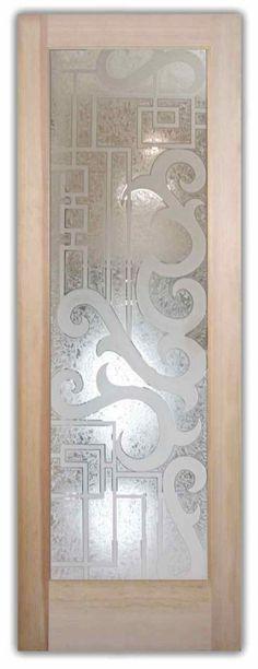 Seville 3D I Door - Etched Glass Front Entry Doors Wrought Iron Ironwork Glass Door - by Sans Soucie Art Glass