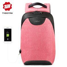 Tigernu Women Anti Theft TSA Lock female Laptop Backpack USB Charge School  Bag for Teenager girls 95960aab3