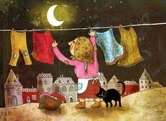 Summer night - illustration impression d'art - pépinière art - lune chat - décoration de la maison-