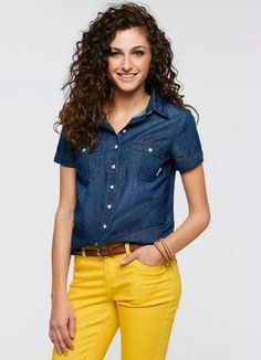 Blusa Jeans Manga Curta Azul - Posthaus Look Camisa Jeans, Plus Size Womens Clothing, Clothes For Women, Looks Jeans, Sport Casual, Mom Style, Ideias Fashion, Denim, Womens Fashion