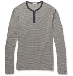 James Perse - Striped Cotton and Cashmere-Blend Henley T-Shirt|MR PORTER