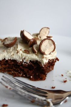 Whopper Brownies with Malted Vanilla Frosting - Blue-Eyed Bakers - Blue Eyed Bakers-mom will love these!