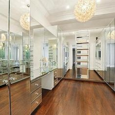 custom closets with vanity desk   fronted closet cabinets, mirrored vanity, mirrored dressing table ...