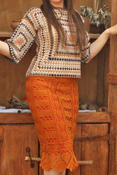 Купить Пуловер Бабушкин Квадрат - разноцветный, Бабушкин квадрат, пуловер крючком, юбка крючком