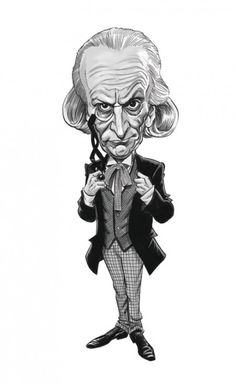 A close-up from the limited edition print of 1, William Hartnell by Tom Richmond of Mad magazine.