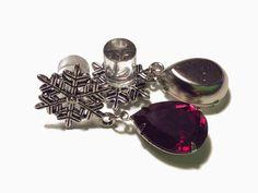 5/8 9/16 1/2 7/16 00g 0g 2g 4g 1 PAIR Siam Snowflake Plugs Gauges or Studs Made With SWAROVSKI Elements Wedding Bridal Christmas