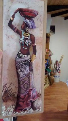 African Lady Carrying Bowl On Her Head. African Girl, African American Art, African Women, African Fashion, Ankara Fashion, African Style, Black Girl Art, Black Women Art, Black Art
