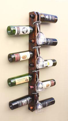 Wall Wine Rack 9 Bottle 4 Glasses Holder by AdliteCreations Cool Wine Racks, Rustic Wine Racks, Hanging Wine Rack, Wine Glass Rack, Wood Wall Wine Rack, Homemade Wine Rack, Wine Rack Design, Rustic Wood Decor, Pallet Wine