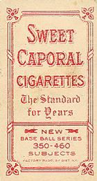 1909-11 The American Tobacco Company T206 White Border #374 Orval Overall (Hands At Waist Level) Back
