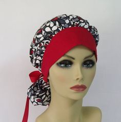 Women's Bouffant Scrub Hat or Surgical  Cap Red by ScrubsbyEdie