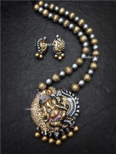 Antique Gold And Silver Ganapathi Design Temple Long Necklace Set By Nakshatra Terracotta Terracotta Jewellery Making, Terracotta Jewellery Designs, Funky Jewelry, Jewelry Necklaces, Diy Jewelry, Gold Jewelry, Temple Jewellery, Thread Jewellery, Handmade Jewellery