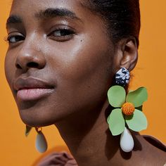 Dvacaman Green Flower Statement Dangle Earrings for Women Trendy Brand Pendientes Earrings Large Drop Earrings ZA Jewelry Black Diamond Studs, Black Diamond Earrings, Emerald Earrings, Rose Gold Earrings, Flower Earrings, Crystal Earrings, Women's Earrings, Aquamarine Jewelry, Button Earrings