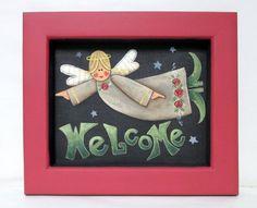 Ange signe de bienvenue, cadre en bois fabriqué à la main de bois recyclé, Tole peinte, ange de l'Art populaire, signe de bienvenue, Ange signe, cadre rouge