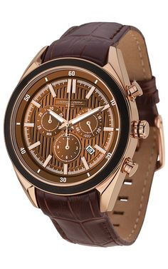 PRE-SALE Jorg Gray JG6900-21 Men's Watch Chronograph Brown Dial With Integrated Brown Genuine Leather Strap