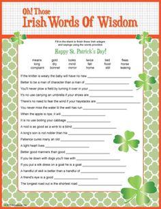 Irish Words of Wisdom - trivia game. St. Patrick's Day game.