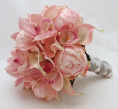Bridal Bouquet of Peonies, Calla Lilies and Cymbidium Orchids. I love this bouquet. Calla Lily Bouquet, Peony Bouquet Wedding, Peonies Bouquet, Floral Wedding, Wedding Flowers, Calla Lilies, Pink Peonies, Bridal Bouquets, Pink Bouquet