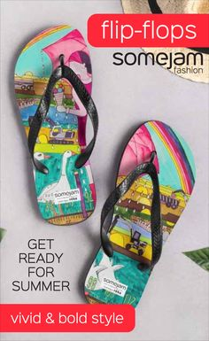 We make eye-catching colourful flip-flops decorated with paintings by artists. Discover our bold and striking flip-flops collection. Women's beachwear with garish and unique design - Flip-flops, Reversible Bikinis, One-Pieces Swimsuits, Beach Bags - WRAP YOURSELF INTO ARTWORK - #summerclothes #flip-flops #bold #vivid #colourful #striking #unique #happy #eye-catching #garish #artwork #fashion #somejam #slippers #summer #beachwear #swimwear