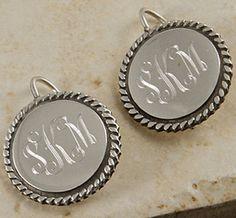 Sterling Silver Monogrammed Rope Border Round Earrings