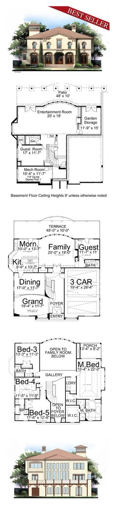 Luxury House Plan 72095   Total Living Area: 3073 sq. ft., 4 bedrooms and 4 bathrooms. Despite its compact size, no amenity is overlooked or deleted; such as the stylish grand room, which is slightly oval, adjoining a spacious dining hall. #houseplan #luxuryhome