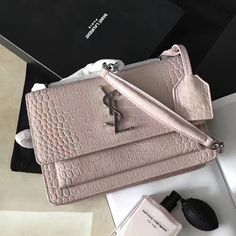06367e9ce748 Saint Laurent 441972 Small Sunset Bag in Crocodile Embossed Shiny Leather  Powder 2017     Real Purse