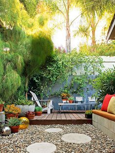 Eclectic Patio      The combination of new materials with architectural salvage and garage-sale finds creates this truly one-of-a-kind and...