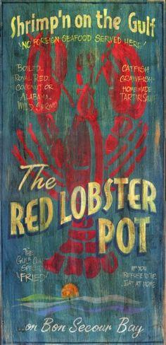 Lobster Pot - Vintage Beach Sign: Beach Decor, Coastal Home Decor, Nautical Decor, Tropical Island Decor & Beach Cottage Furnishings