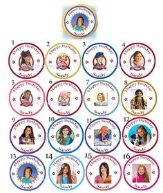 American Girl photo Edible cookie cupcake tops birthday party decoration