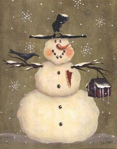 Snowman holding Crow