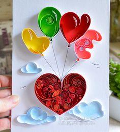Quilling-sticker art quilling papier amour par QuillingbyLarisa