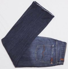 Mens-7-FOR-ALL-MANKIND-Jeans-34X30-Blue-LONG-BOOTCUT-Medium-Wash-DISTRESSED