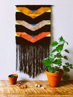 """Woven Wall Hanging - Tapestry - """"Descending Waves"""""""