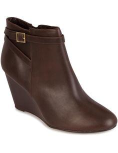 Boots compensées en simili cuir