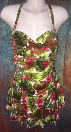5d06649037b Plus Size Swimsuit 2X ( 18W 20W) One Piece W Skirt EUC Tropical Print