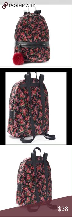 "🆕CANDIE'S SCARLETT FLROAL VELVET  BACKPACK . Candie's Scarlett Floral Velvet Backpack . It's very soft, velvety  construction and lovely floral motifs. Product features  - Faux - fur, Pom -Pom  accent. Product details Top-loop: 5"" drop, Silver - tone hardware , zipper closure. Exterior : zip pocket. Interior: main compartment, zip pocket & 2 slip pockets. Dimension - 17""H x 12""W x5"" D. Fabric - polyester. BRAND NEW WITH TAG. Candie's Bags Backpacks"