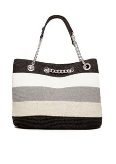 New Directions  Straw Stripe Chain Tote