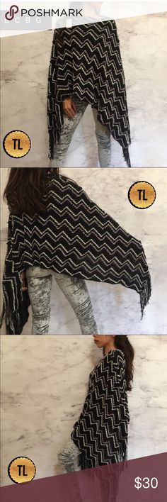 """BCBG chevron stripes metallic knit fringe poncho •brand NWT Retails :$298  •ships tomorrow •brand : BCBG Maxaria  •no trades  •true to size    Lovely to pair with a cool pair of jeans or leggings .   Model: goguios in insta 📸 (account manager) modeling XS  Please visit """"Closet Rules"""" for more info about us :) BCBG Sweaters Shrugs & Ponchos"""
