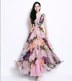 Inspire Wedding | Dress Different | coloured dresses, bridal gowns | Bohemian Floral Print Dress Pleated Full Skirt door ChineseHut, $149.00