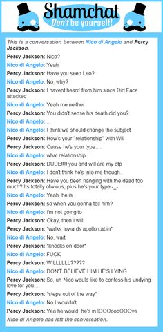 A conversation between Percy Jackson and Nico di Angelo