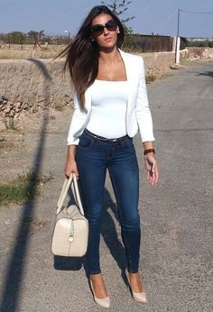 Fashion blazer outfits casual, blazer outfits for women, casual outfits classy, semi casual Mode Outfits, Stylish Outfits, Fall Outfits, Fashion Outfits, Womens Fashion, Fashion Trends, Jeans Fashion, Dinner Outfits, Summer Outfits