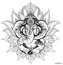 Find Greeting Beautiful Card Elephantornament God Ganesha stock images in HD and millions of other royalty-free stock photos, illustrations and vectors in the Shutterstock collection. Ganesha Tattoo Mandala, Arte Ganesha, Ganesha Drawing, Lord Ganesha Paintings, Girl Thigh Tattoos, God Tattoos, Tribal Tattoos, Lotus Flower Tattoo Design, Lotus Tattoo