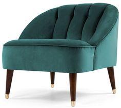 Margot Accent Chair, Peacock Blue Velvet