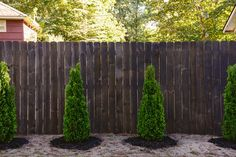 Staining Our Fence Black! Staining Our Fence Black! - Yellow Brick Home Staining Wood Fence, Fence Stain, Painted Wood Fence, Wood Fence Installation, Stockade Fence, Black Wood Stain, Dark Wood, Timber Fencing, Wood Fences