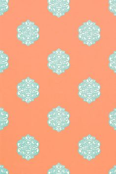 Thibaut- Shangri-La- Ivana Coral and Turquoise shop.wallpaperconnection.com