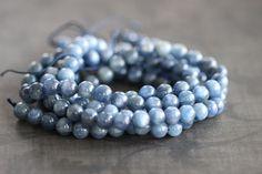 "Blue Kyanite, Genuine Kyanite, 8mm, Smooth Round, Beads, 15.5"", Full Strand, Natural, Gemstone, wholesale, supplies by StoneCreekSurplus on Etsy"