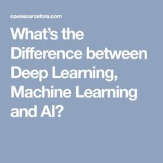 What's the Difference between Deep Learning, Machine Learning and AI?