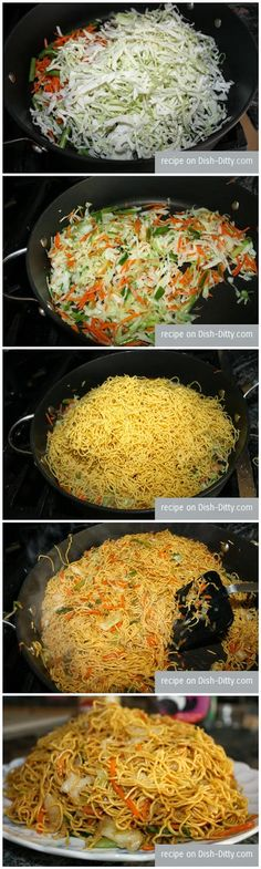Vegetable Chow Mein Recipe - 1 Tbl oil 2 cups shredded cabbage 1 cup shredded carrots bunch sliced green onions 1 lb fresh steamed thin chow mein noodles 1 cup chicken (vegetarian style) broth cup soy sauce cup sesame oil cup lo mein sauce (done) Asian Recipes, New Recipes, Vegetarian Recipes, Dinner Recipes, Cooking Recipes, Favorite Recipes, Healthy Recipes, Asian Foods, Recipies