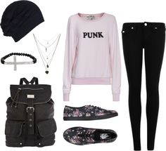 """punk"" by autumn-wright on Polyvore I'd switch out the shirt and shoes, but I definitely like."