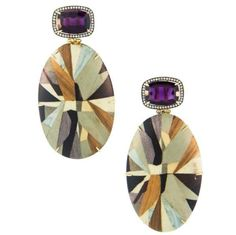 Silvia Furmanovich 18-karat gold, diamond, amethyst and wood marquetry earrings