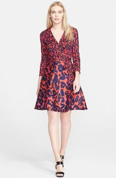 Free shipping and returns on Diane von Furstenberg 'Amelia' Print Wool & Silk Wrap Dress at Nordstrom.com. An abstract leopard print in vivid, saturated hues enlivens a stunning Diane von Furstenberg wrap dress tailored from a luxurious blend of wool and silk.